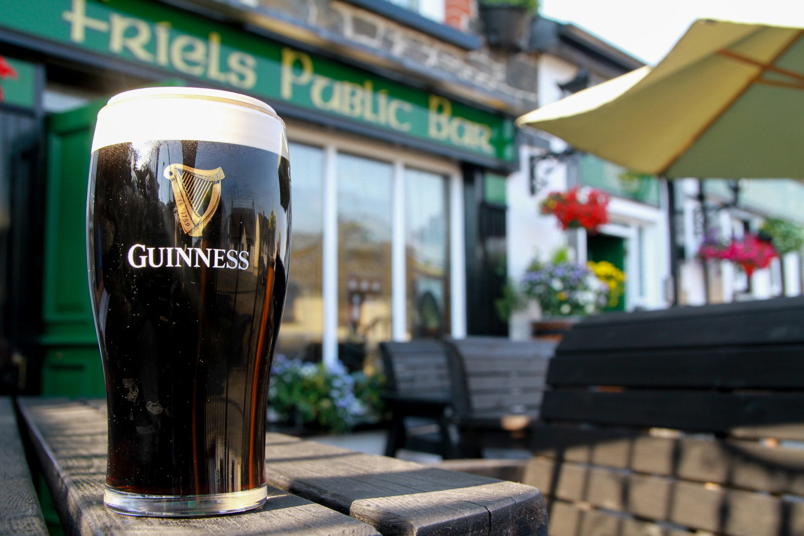 Pint of Guinness outside at Friels Bar Swatragh